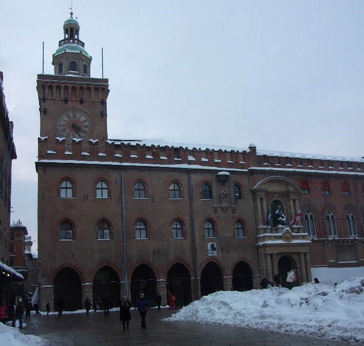 The coronation of Charles V. Palazzo d'Accursio (Palazzo Comunale) facing Piazza Maggiore – where Charles and Pope Clement stayed during their time in Bologna. In a very snowy Bologna - February 2012.