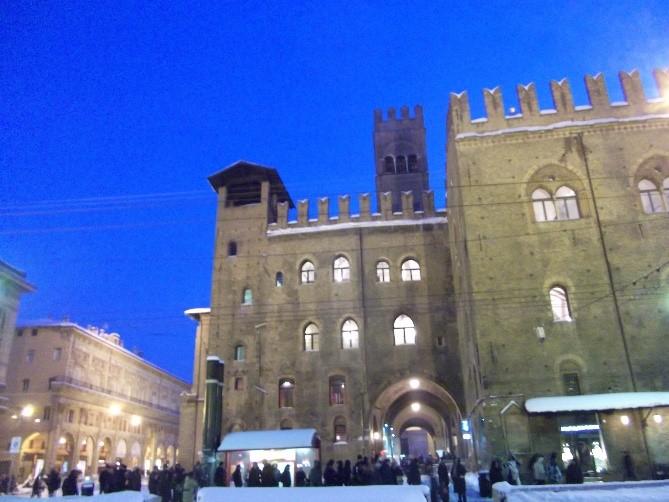Photo 3. The Palazzo del Podesta and the Palazzo Re Enzo facing the Piazza Maggiore – at night.