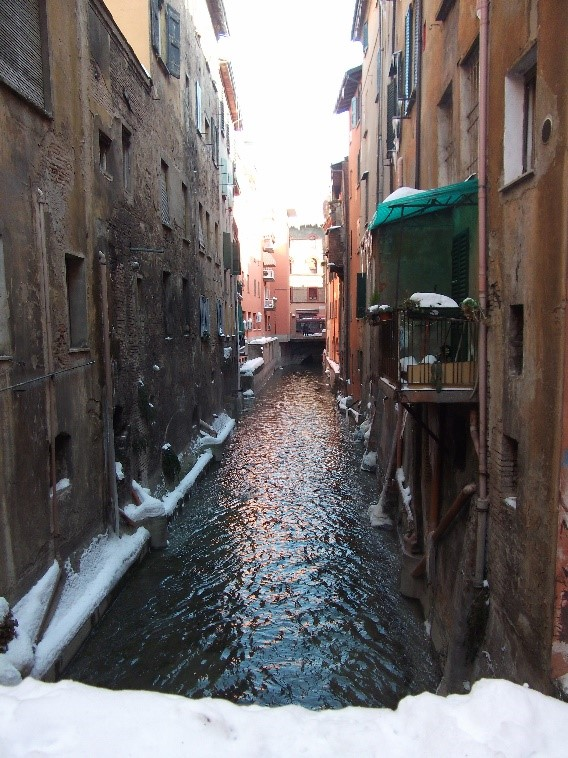 Photo 8. One of the few remaining sections of the old canals of Bologna.