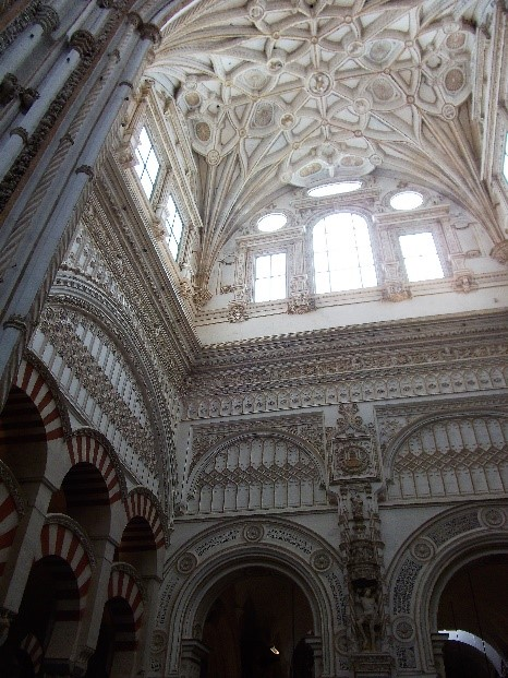 Photo 8. The roof in the cathedral. Note the contrast with the pillars of the earlier mosque.