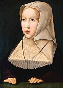 Photo 1  Margaret of Austria  who played a large part in Charles V's education. c.1519 Bernard van Orley  [Public domain], Royal Museum of Fine Arts of Belgium.via Wikimedia Commons
