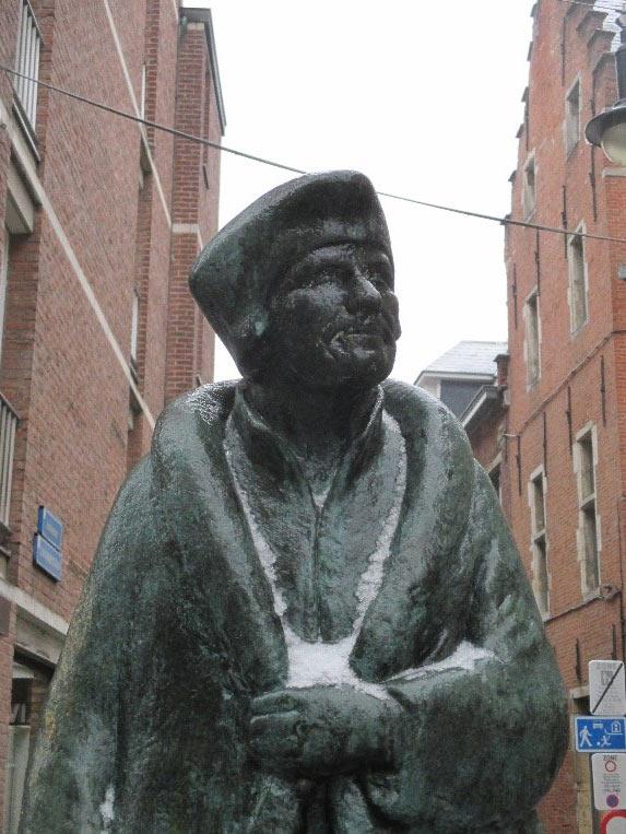 Photo 5  Statue of Erasmus (in the snow - Jan. 2017) Leuven, Belgium. Erasmus contributed to Charles V's education.