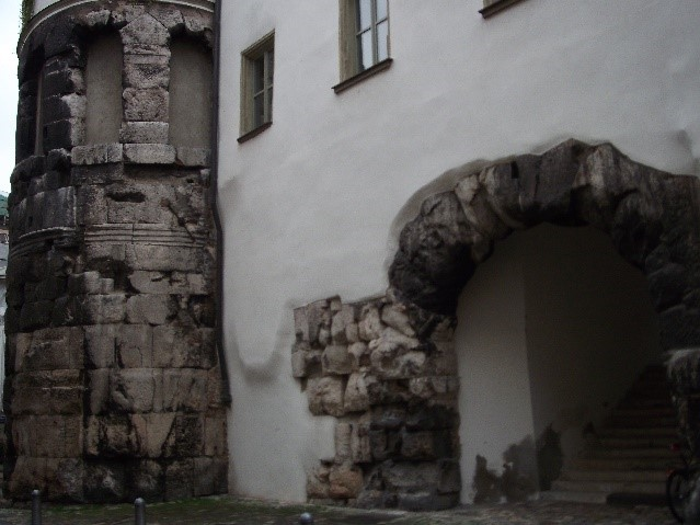 Porta Praetoria, Regensburg, showing the scale of the early defences of the city.