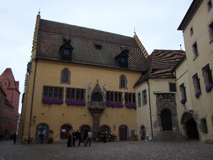 The entrance to the Altes Rathaus, on the right, with the Banqueting Hall on the left.