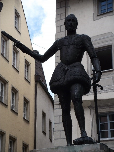 Statue of Don John of Austria, natural son of Charles V, born in Regensburg in 1547.