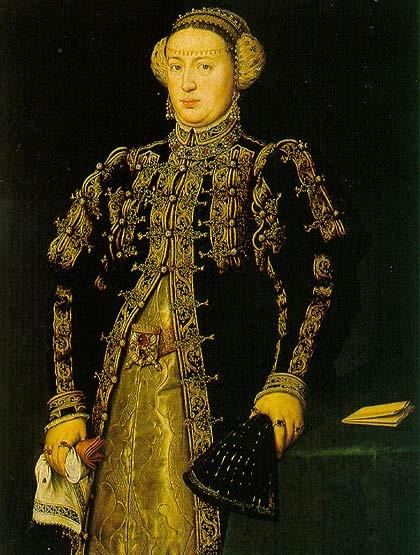 Catherine of Austria, Queen of Portugal (1507-1578) Antonis Mor, c. 1552.  Prado Museum, Madrid.  [Public domain], via Wikimedia Commons