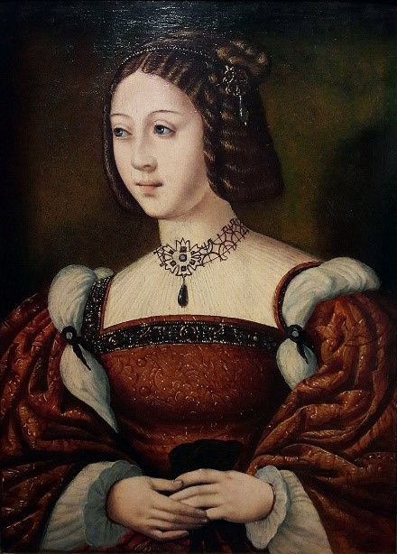 A portrait of a young Isabella of Portugal.  Early 1520s.  Anon. circle of Master of the Female Half-Lengths. National Museum of Ancient Art, Lisbon.  [Public domain], from Wikimedia