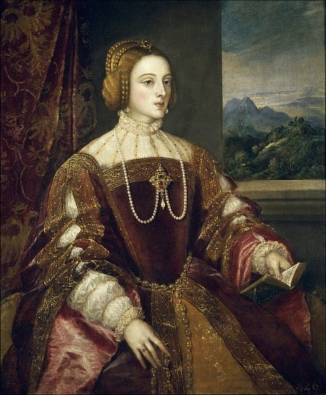 Isabella of Portugal, painted by Titian for Charles V in 1548, nine years after her death. Prada Museum, Madrid.  [Public domain], via Wikimedia Commons