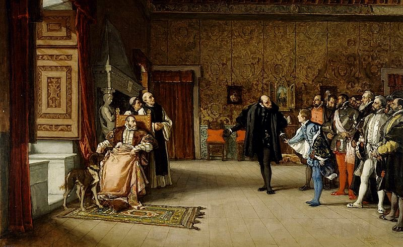 The Presentation of Don John to Emperor Charles V in Yuste by Eduardo Rosales c. 1868. Museo del Prado, Madrid. [Public domain], via Wikimedia Commons