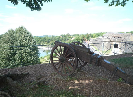 16th century cannon on the walls of Navarrenx in S. W. France.