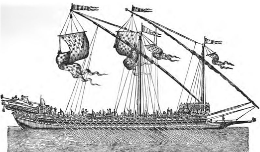 16th century galley.  By Jurien de la Gravière [Public domain], via Wikimedia Commons.