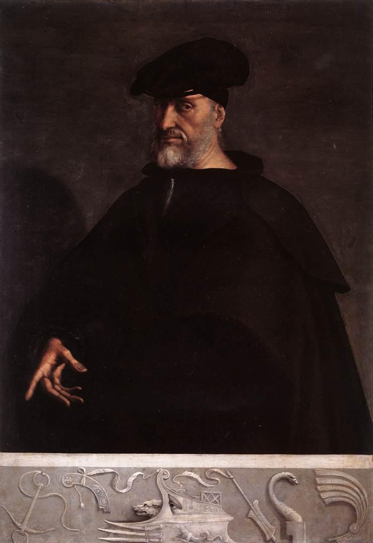 Andrea Doria of Genoa, Charles V's admiral for over 20 years.  Sebastiano del Piombo (c. 1526) Held in the Villa del Principe, Genoa. [Public domain], via Wikimedia Commons