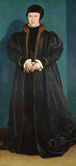 Christina of Denmark, Hans Holbein 1538. National Gallery. [Public domain], via Wikimedia Commons. Holbein was sent by Thomas Cromwell to paint this picture for Henry VIII when he was considering Christina as a possible wife. He was apparently delighted with what he saw. She had the good sense to reject the match.