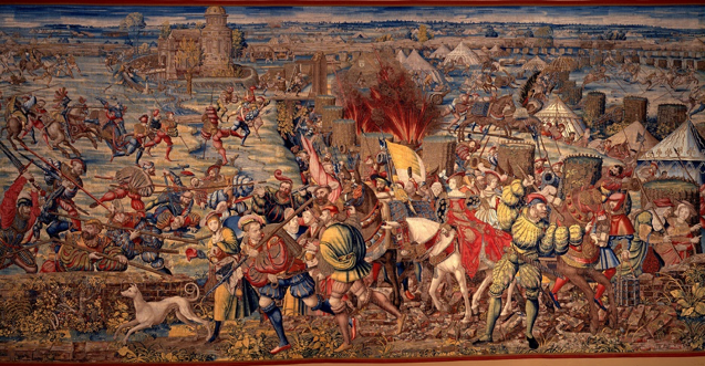 Detail from a tapestry based on the work of Bernard van Orley [Public domain], via Wikimedia Commons.