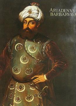 Hayrattin Barbarossa, the Ottoman admiral under Sultan Suleiman.  Unknown artist, probably 16th century. Louvre Museum [Public domain], via Wikimedia Commons
