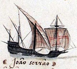 Portuguese Caravel in the armada of Joao Serrao - 1502.   c.1566. Livro das Armadas. [Public domain], via Wikimedia Commons