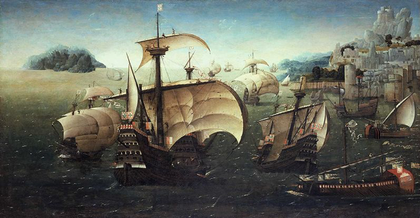 Portuguese carracks off a rocky coast. C. 1540.  By  the circle of Joachim Patinir [Public domain], via Wikimedia Commons