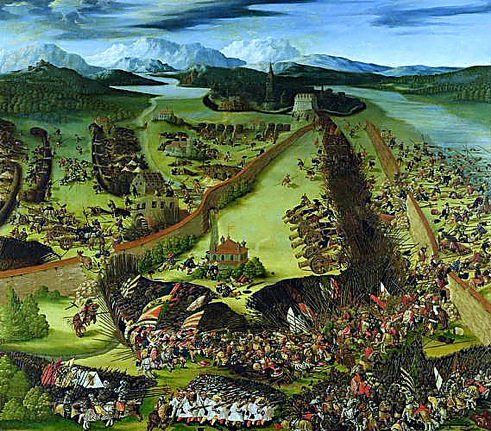 Representation of the Battle of Pavia showing pike-men, cavalry, artillery, the park walls and the river Ticino.  Ruprecht Heller [Public domain], via Wikimedia Commons