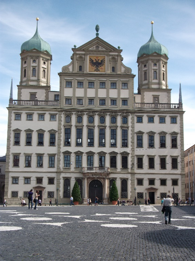 The façade Elias Holl's early 17th century Rathaus from Augsburg's expansive Rathausplatz