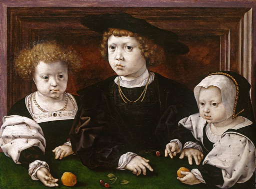 The three children of Isabella and Christian II of Denmark, Dorothea, John and Christina, painted shortly after their mother's death in 1526. Jan Gossaert. Royal Collection. [Public domain], via Wikimedia Commons