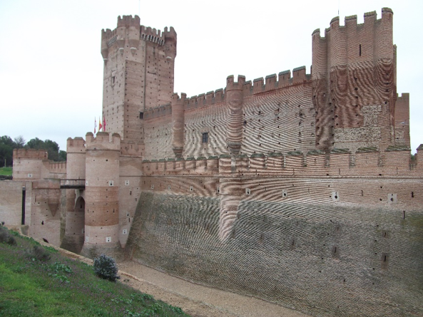 The vast walls and moat of the castle of La Moto, near Medina del Campo.