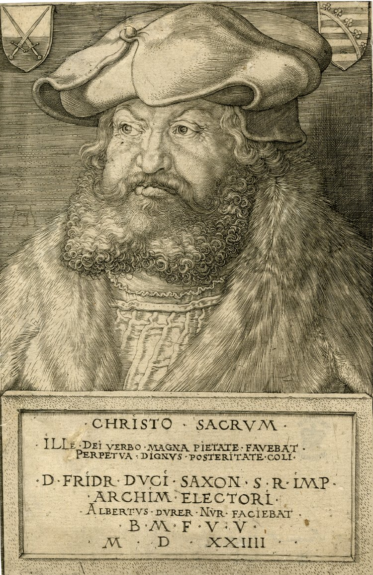 Two other candidates in the imperial election of 1519. Elector Frederick the Wise of Saxony. Charles' victory made him Holy Roman emperor, Charles V. Albrecht Durer (1524), British Museum. [Public domain], via Wikimedia Commons and Francis I of France. Jean Clouet c. 1515. Conde Museum. [Public domain], via Wikimedia Commons