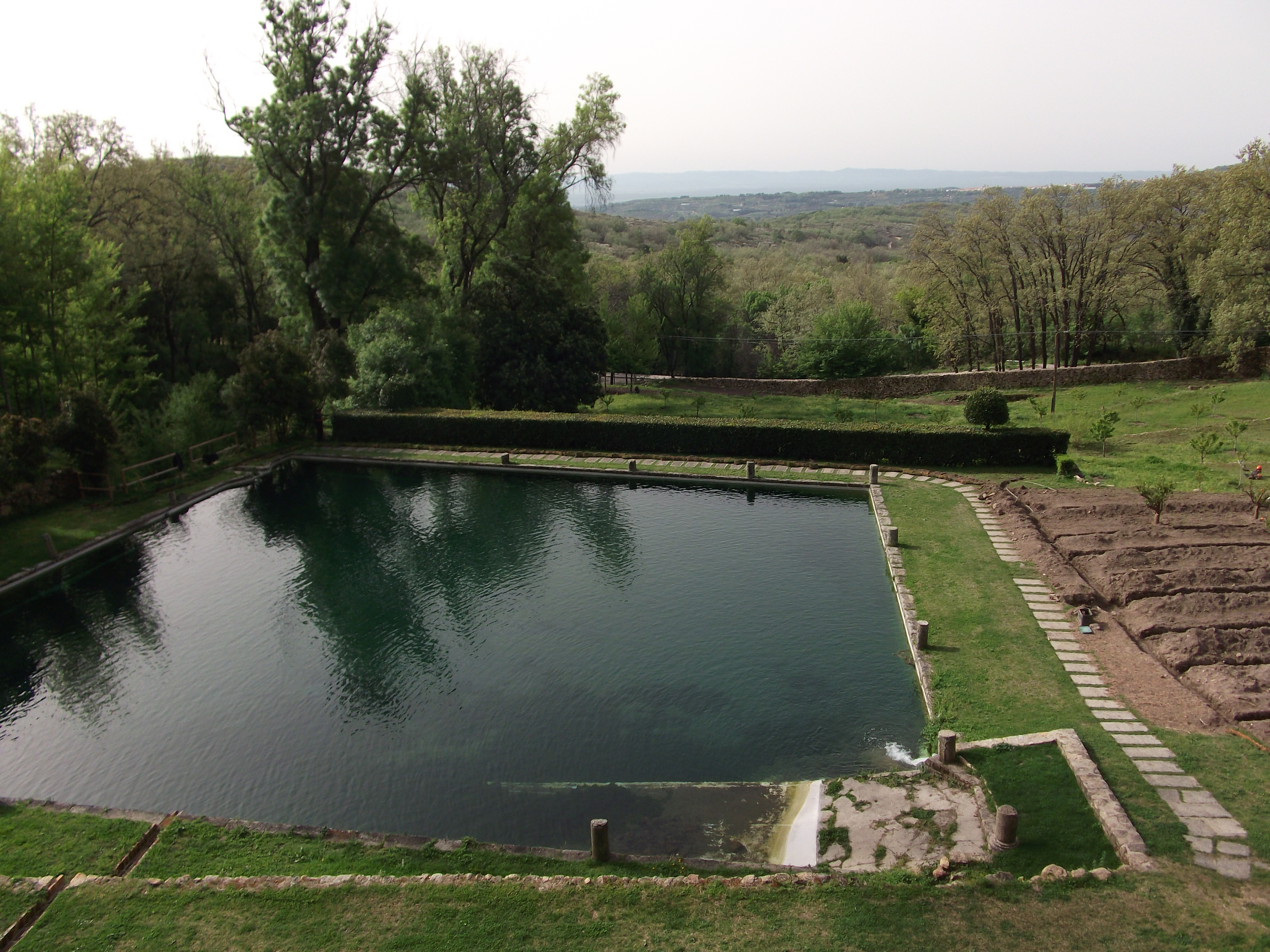 Emperor Charles V's view of gardens and pool from his terrace at |Yuste.