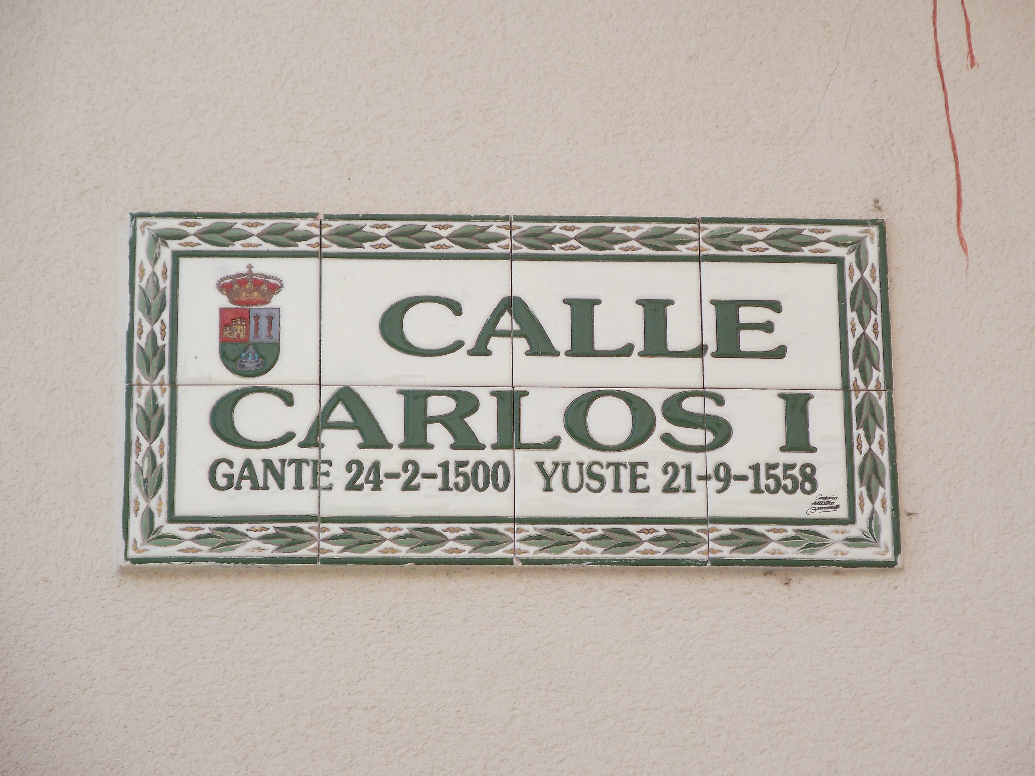 Street in Cuacos de Yuste named after Emperor Charles V / King Carlos I of Spain.