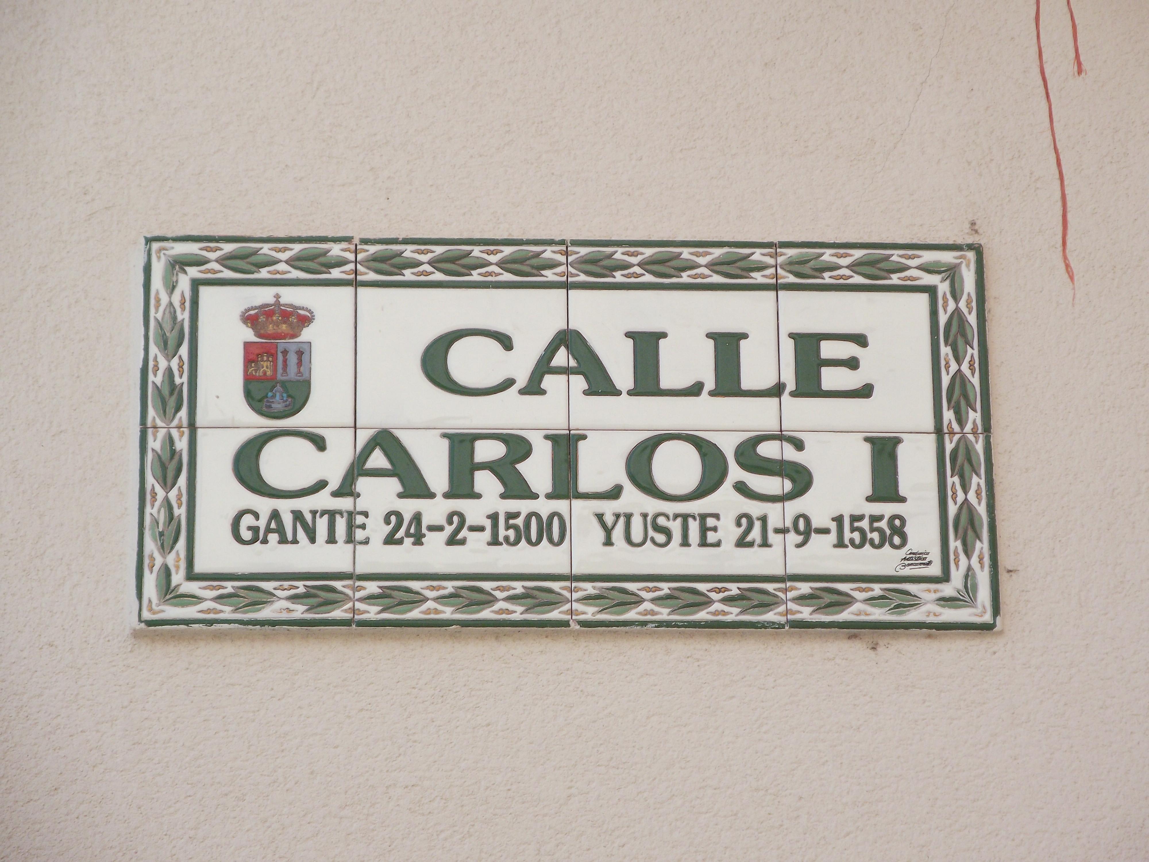Street in Cuacos de Yuste named after Emperor Charles V / King Carlos I of Spain.