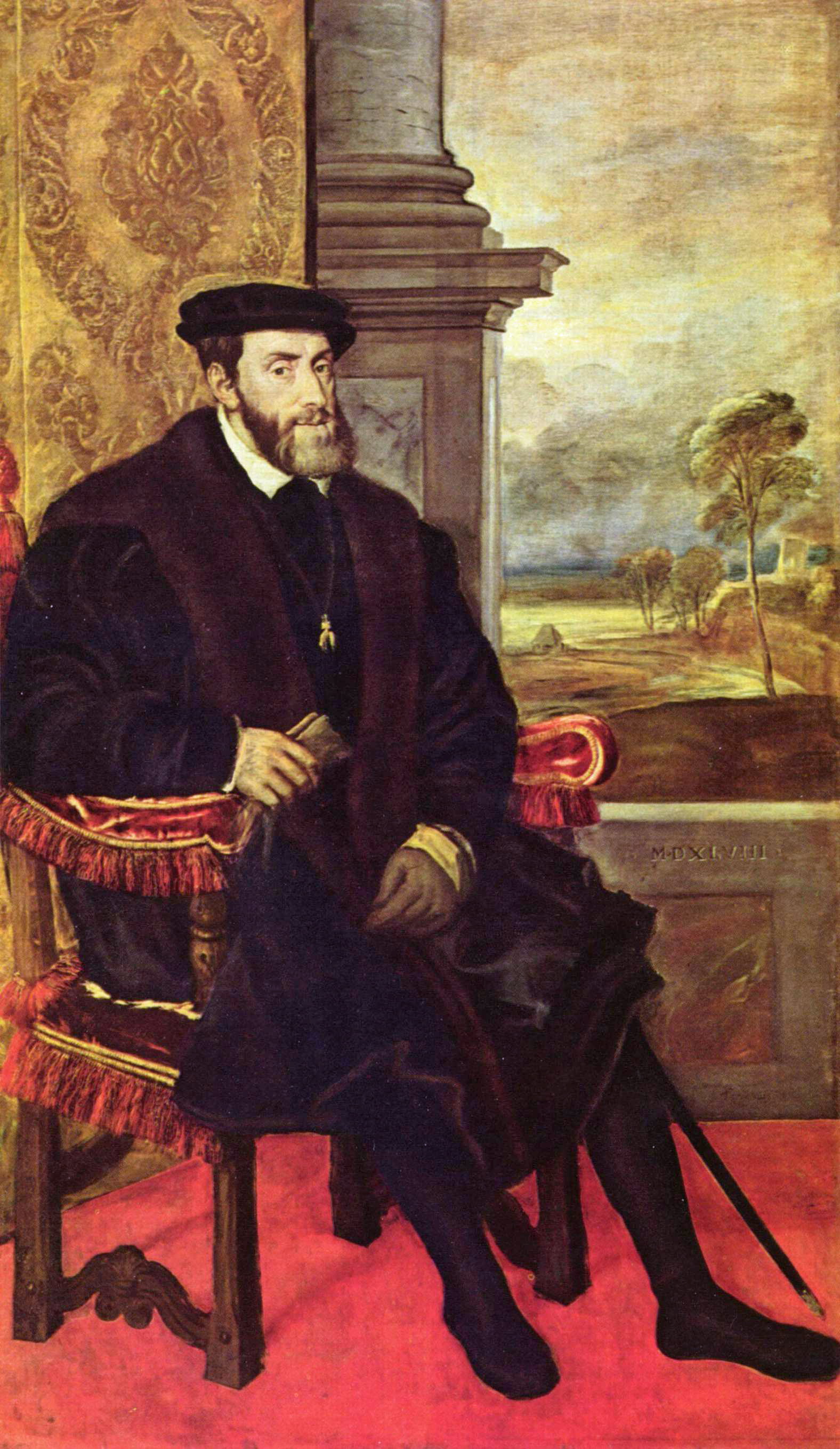 Charles V (seated) 1548. Titian. Alte Pinakothek, Munich (Wikimedia Commons)