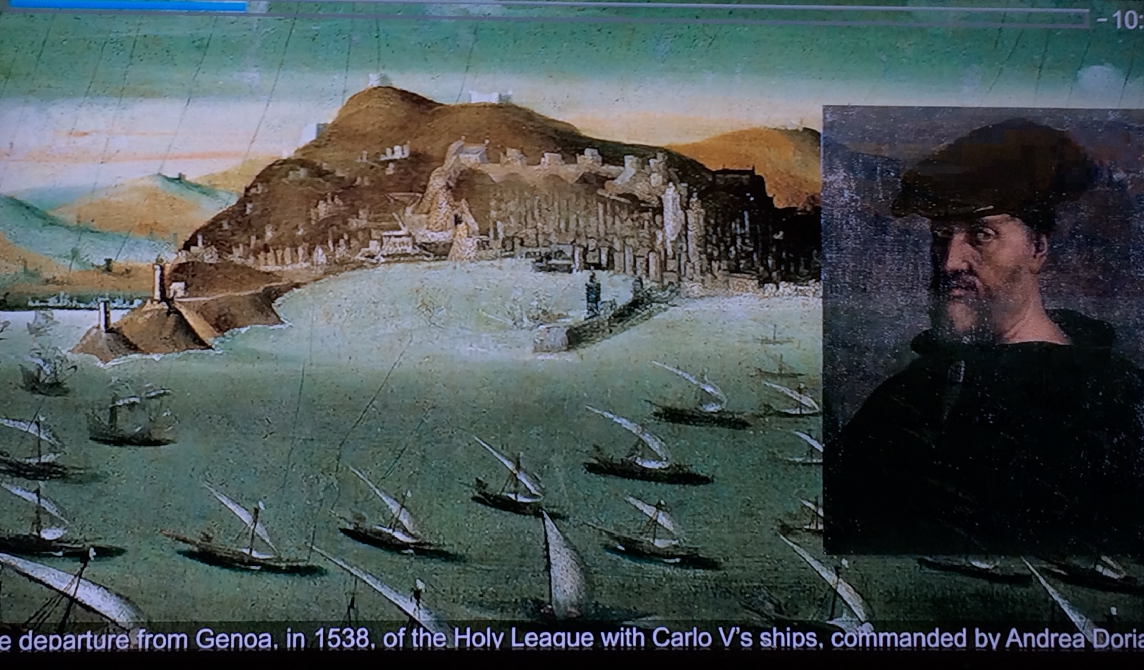 The fleet of the Holy League under Andrea Doria leaves Genoa in 1538. (Taken from a video on display at the Galata Museo del Mare, Genoa)