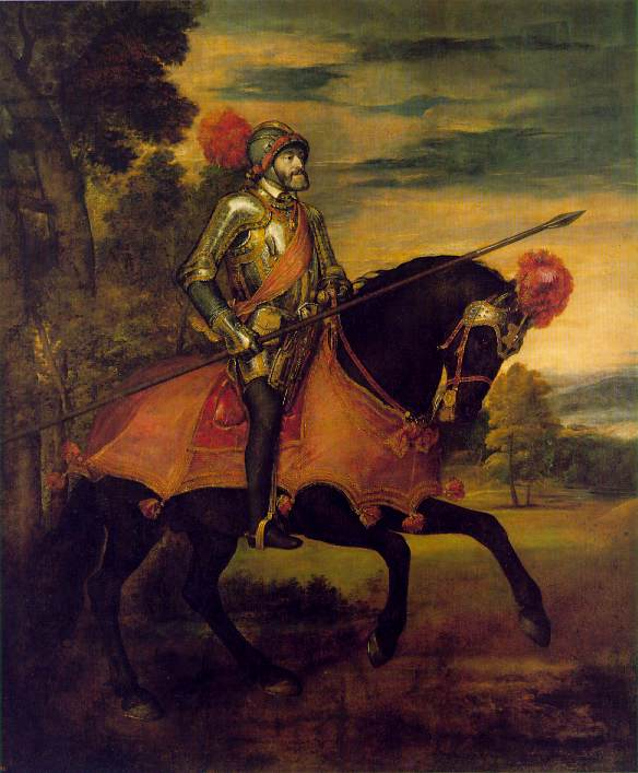 Charles V at the Battle of Muhlberg (Titian) 1548, (Prada, Madrid). This is a classic use of art as propaganda. Painted a year after the battle while Charles was in Augsburg, the image of him as an imperious warrior was in fact far from the truth. At the time of the battle Charles was suffering from gout and would almost certainly have had to have been carried to a vantage point to be able to view his victory.