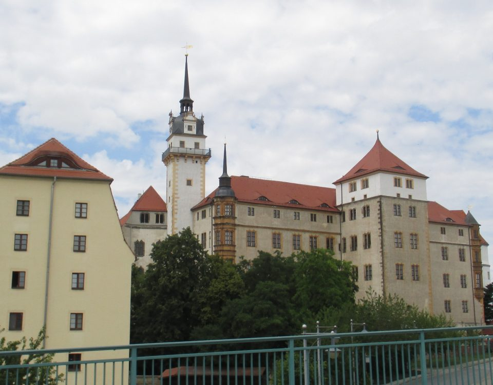 Hartenfels Castle in Torgau - a view of the back of the castle from the road.