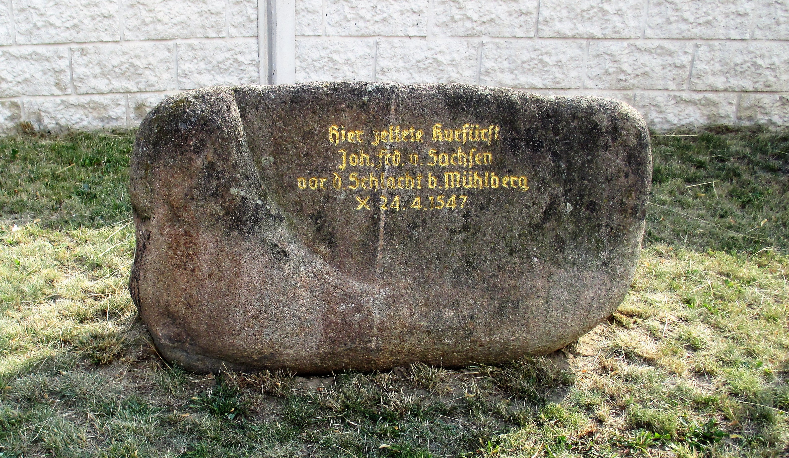 Memorial stone marking the site of John Frederick's camp - 24th April 1547.