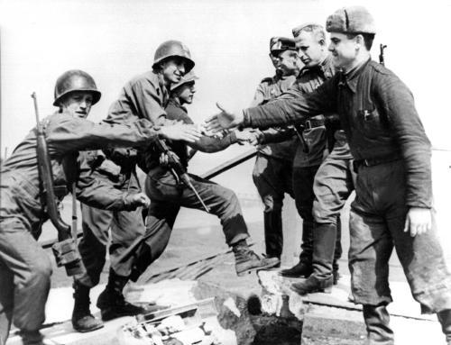 The meeting of American and Russian soldiers at Torgau 25th April 1945